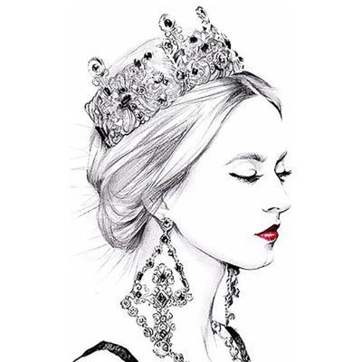 여왕 (패브릭) 보석십자수 40x40