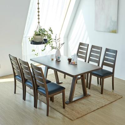 [리비니아]카이 루디 고무나무원목 6인용 식탁세트