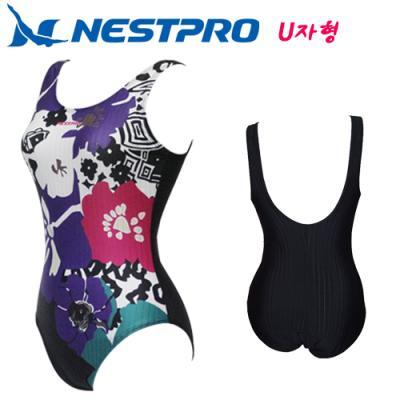 [네스트프로] 여성 U백 일반형 빅사이즈 수영복(U자형) NBFU508 (NAVY)