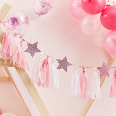 핑크 글리터 별 & 테슬 가랜드 GR