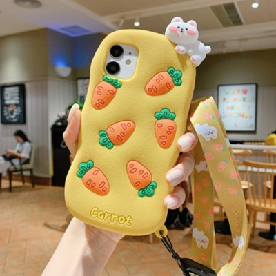 아이폰11 프로 SE2 X 캐릭터 실리콘 목걸이줄 케이스