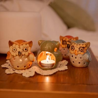 레인보우 부엉이 도자기 캔들 홀더 4P 빈티지 촛대
