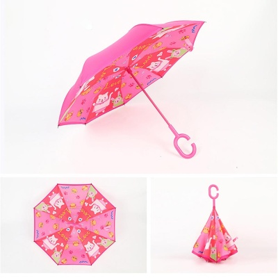 어린이 캐릭터 C형 손잡이 거꾸로 접히는 우산 장우산
