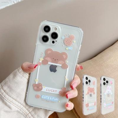 아이폰 12 미니 11 pro max 곰 토끼 투명 액자 케이스
