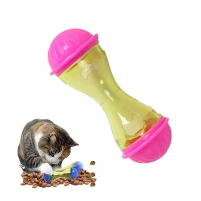 고양이 먹이장난감 덤벨 무빙 IQ 스낵볼(핑크 1P)