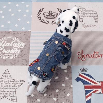[펫딘]데님 패션패치 똑딱이 강아지옷티셔츠 E020Blue
