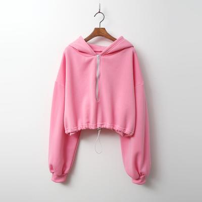 Warm Hood Crop Sweatshirt - 기모안감