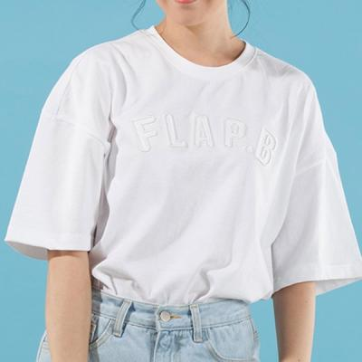 FLAP.B OVERFIT T-SHIRTS (WHITE)  무지티 자수티