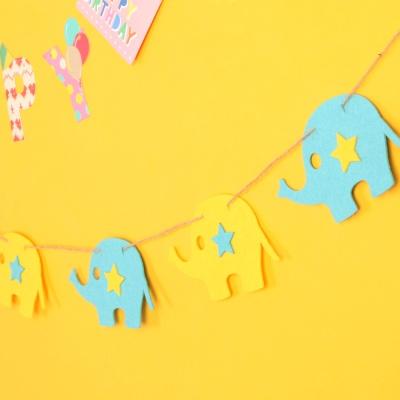 펠트 코끼리 가랜드 - 블루