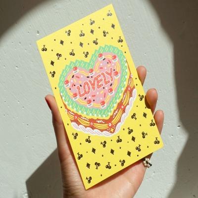 빈티지 케이크 옐로우 엽서