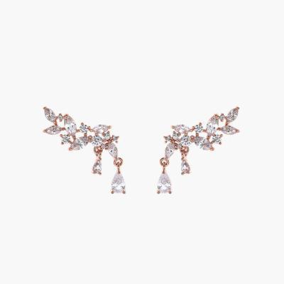 제이로렌 99M01982 날개모양 큐빅 로즈골드 귀걸이