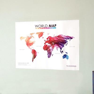 워터컬러 월드맵 벽장식 세계지도 패브릭 포스트