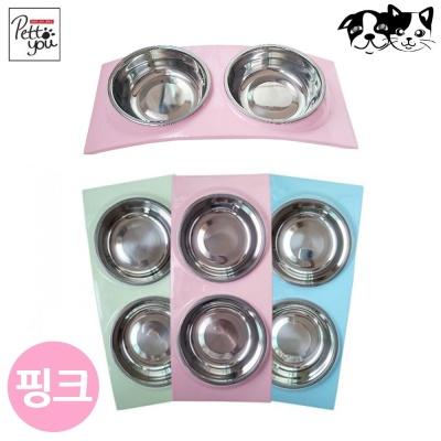 펫투유 우쭈쭈 뉴 블링 스텐식기 (핑크) (애완용식기)