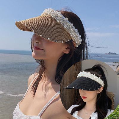 쎄니 진주 자외선차단 라탄 밀짚 썬캡