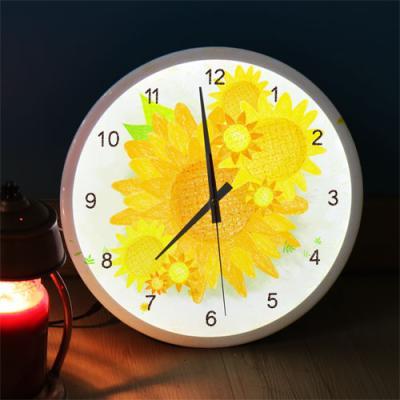 ng518-LED시계액자35R_노란해바라기꽃