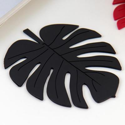 (와인앤쿡)미니멀 블랙 나뭇잎 냄비받침 1개