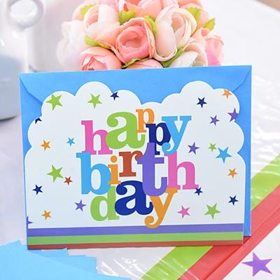 생일파티 카드초대장-12세트 [화이트스타]