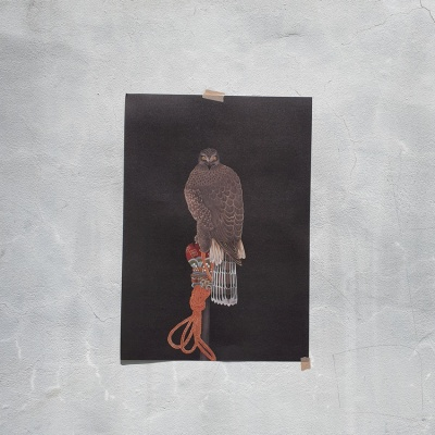 전통민화 봉 위의 매 흑색 빈티지 A3 포스터