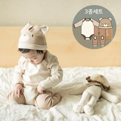오가닉 곰돌이탄생선물3종세트(수트+바지+모자)