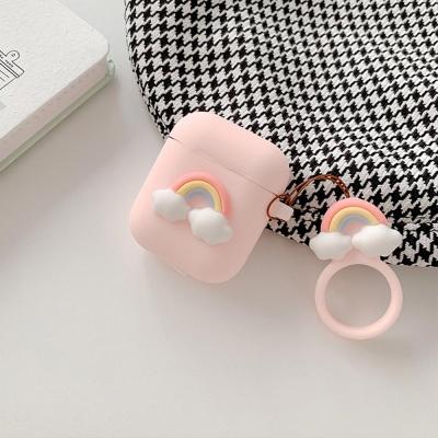에어팟 1 2 귀여운 실리콘 케이스 키링_무지개 432