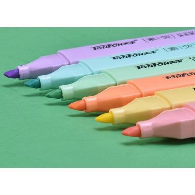 컬러라인 사선 형광펜 6색세트