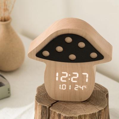 플라이토 우드 머쉬룸 LED 탁상시계 인테리어 무소음