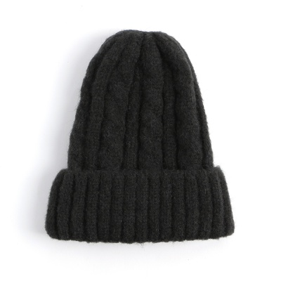 겨울 꽈배기 니트모자 / 블랙 비니모자