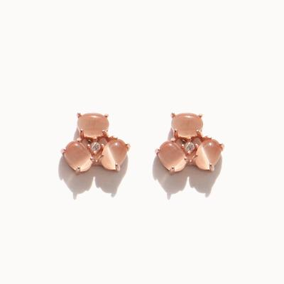 제이로렌 0M02703 피치문스톤 꽃잎 로즈골드 귀걸이