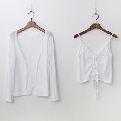 [Set] Linen Cotton V-Neck Tee + Cardigan