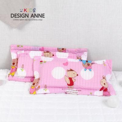 [디자인엔] 순면리플 앙팡 키즈메모리폼베개-핑크