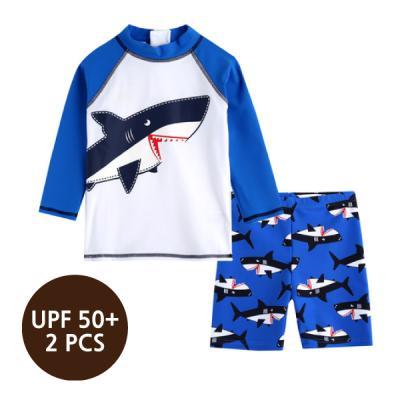 [스윔웨어] 블루샤크래쉬가드_2PCS(UPF50+) 유아수영복 남아래쉬가드