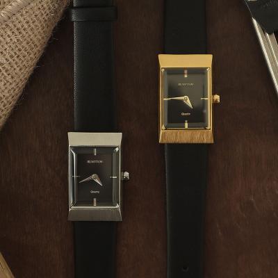 여자 시계 브랜드 여성 가죽 손목시계 그리드 블랙