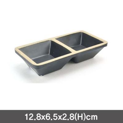 멜라민 앤틱블랙 쌍초장 소스그릇