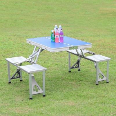 4인용 의자 일체형 접이식 캠핑테이블 블루
