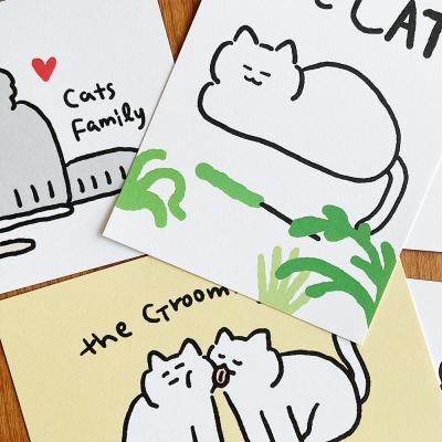 귀여운 고양이 엽서 4종
