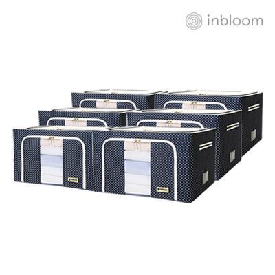 인블룸 6개세트 도트 리빙박스 66L 네이비