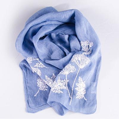 파랑에 꽃 핸드메이드 스카프