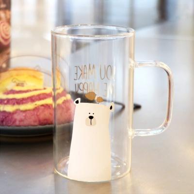 [로하티]행복한 곰 유리컵(600ml)/ 맥주잔 투명컵