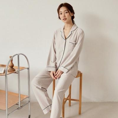 [쿠비카]딥그린 파이핑 샌드워싱 투피스 여성잠옷W816