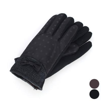 [디꾸보]리본 배색 도트 안감 인조털 여성장갑 GB434