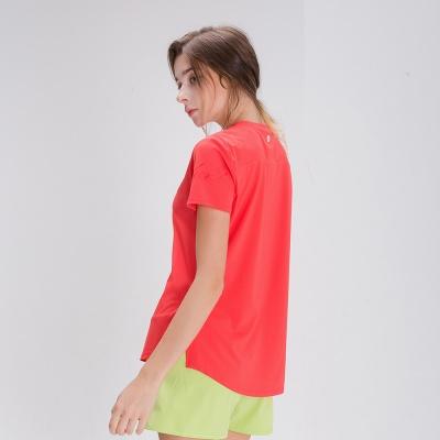 스플래쉬 사이드 슬릿 티셔츠 DFW5024 레드코랄