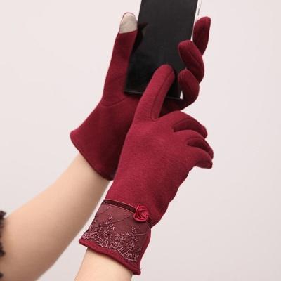 로즈 레이스 터치장갑(와인) / 여성 겨울장갑