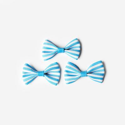 블루 가로줄 완성리본 미니 (10개)