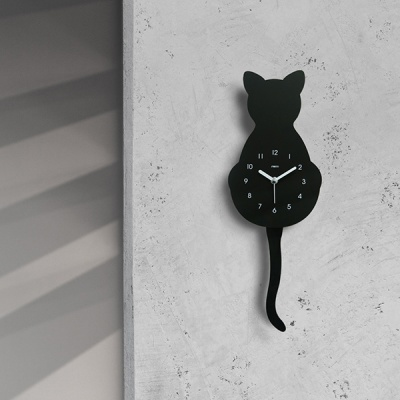[시우아트] 고양이 무소음 벽시계 (추시계)