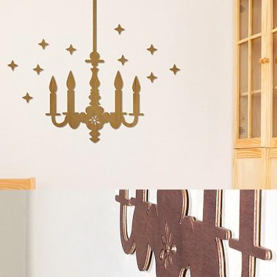 [우드스티커] 우든샹드리에 (컬러완제품) - 입체우드 월데코  포인트 집꾸미기 벽장식