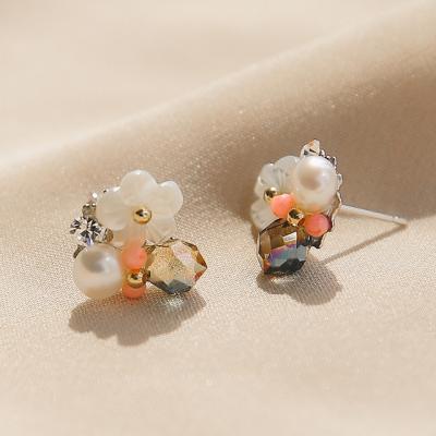 제이로렌 91M02559 코랄데이 크리스탈 자개꽃 귀걸이