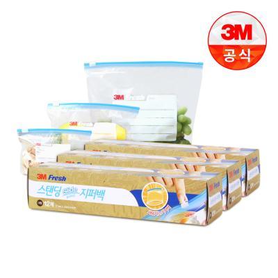 [3M]스탠딩 슬라이드 지퍼백(대) 12매 3개
