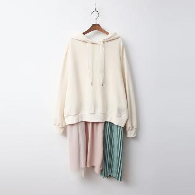 Hood Sweatshirt Pleated Dress