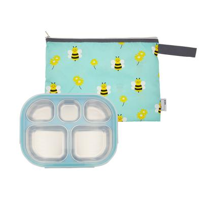 스텐 도시락식판 민트 꿀벌대모험 파우치 세트