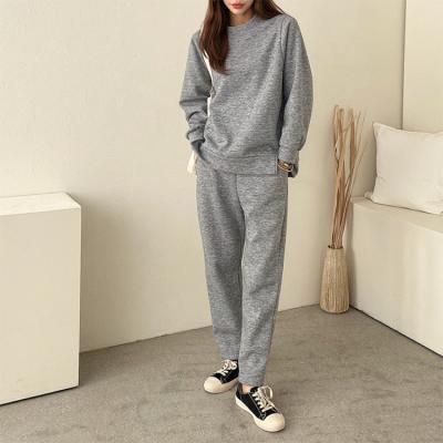 [Set] Gimo Twin Sweatshirt + Easy Pants - 기모안감